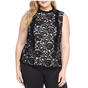 THE LIMITED Plus Size Sleeveless Ruffle Lace Top